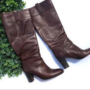 J. Crew Pull On Leather Knee High Boots